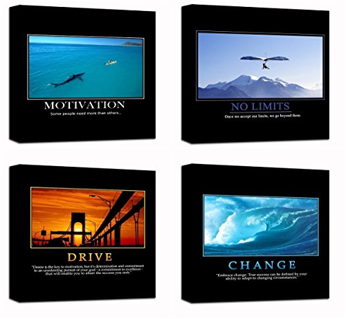 Motivational Inspirational Self Positive Office Canvas Stretched Wood Framed Combine Modern Astract Art For Home Room Hall Wall Print Decor 4Pcs x 12x12