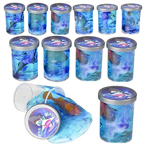 Kicko Sea Animal Slime Toy - 12 Pieces Bottles of Colorful Sludgy Gooey Fidget Kit for Sensory and Tactile Stimulation, Stress Relief, Prize, Party Favor, Educational Game, School Reward (Sea Animal Party Favors)