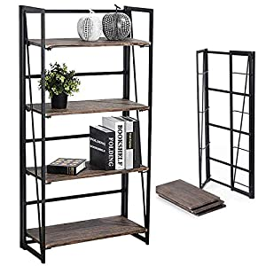 Coavas Folding Bookshelf Home Office Industrial Bookcase No Assembly Storage Shelves Vintage 4 Tiers Flower Stand Rustic…