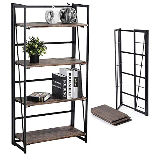 Coavas No-Assembly Folding-Bookshelf Storage Shelves 4 Tiers Bookcase Home Office Cabinet Industrial Standing Racks Study Organizer 23.6 X 11.8 X 49.4 ()