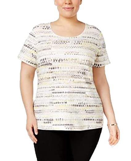 46f1212d Image Unavailable. Image not available for. Color: Karen Scott Plus Size Printed  Henley T-Shirt ...