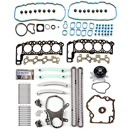 OCPTY Timing Chain Cover Gasket Kit Head Gasket Bolts Set with Water Pump for Dodge Ram 1500 4.7L 02 03 Jeep Grand Cherokee 4.7L 99 00 01 02 03