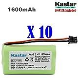 Kastar 10-PACK AAX2 2.4V 1600mAh MSM Plug Ni-MH Rechargeable Battery for Uniden BT1007 BT-904 BBTY0700001 CEZAi2998 DCX150 DECT1500 D1484 Panasonic HHR-P506 Home Handset Telephone (Check model down)