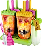 Popsicle Molds Set - BPA Free - 6 Ice Pop Makers + 1 Extra Mold + Silicone Funnel + Cleaning Brush + Recipes E-book - by Lebice Larger Image