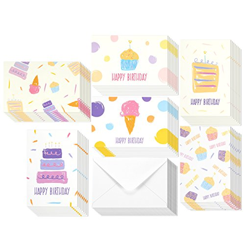 48 Pack Happy Birthday Cards Bulk 6 Painted Pastel Dessert Birthday Card Assortment Greeting Card Envelopes Included 4 x 6 Inches