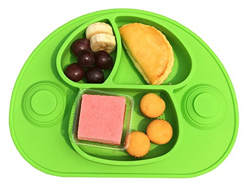 Strong Suction Meal Silicone Mat Placemat Bowls Dining Tray For Kids Babies Non Toxic Food Grade Silicone  Phthalate Free  Green