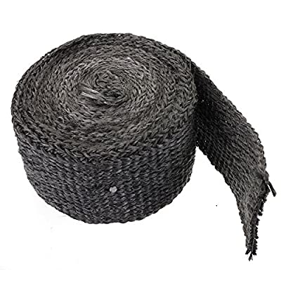 """Ninth-City 1.77""""x14.7' Black Exhaust Heat Header Manifold Downpipe Wrap High Temp Insulation Pipe Tape"""