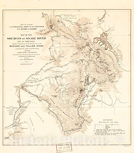 Snake River Idaho Map - Historic 1870 Map | Map of The Sources of Snake River : with its Tributaries Together with portions of The headwaters of The Madison and Yellowstone from surveys and observations 32in x 36in