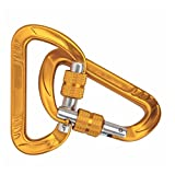 Ultralight #1 Yellow Screw Twist Lock Carabiner Clip for heavy duty 12kN (2700 lbs) Quick Hook D ring - 3 inch - for outdoor hammock, camping, locking key, yoga swing, dog leach, keychain -pack of 2