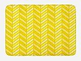 Yellow Chevron Bath Mat, Vertical Retro Chevron Motif in Yellow Color Tones, Plush Bathroom Decor Mat with Non Slip Backing, 23.6 W X 15.7 W Inches, Avocado Green Yellow Earth Yellow
