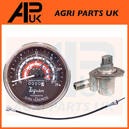 Tacho Tractormeter MPH + Tachometer Angle Drive Unit 4 Cyl 23C + Rev Drive Speedo Cable compatible with Massey Ferguson 35 Tractor:
