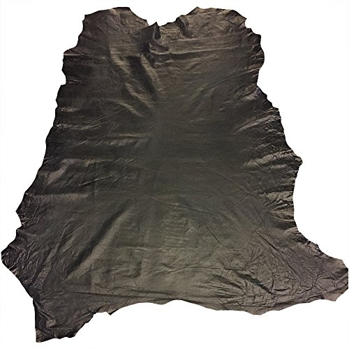 Black Leather Hide - Spanish Full Skin – Rustic Finish - 7 sq ft - 2 oz AVG Thickness – Soft Upholstery Fabric – Genuine Thin Lambskin - DIY Supply – Craft Projects – Leather Treasure Shop