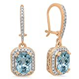 10K Rose Gold Cushion Aquamarine & Round White Diamond Ladies Halo Style Dangling Drop Earrings