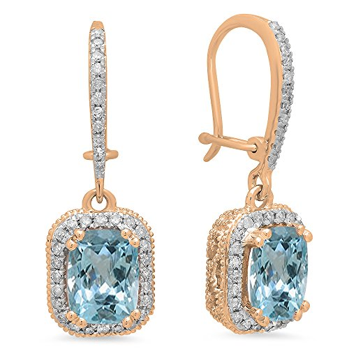 10K Rose Gold Cushion Aquamarine & Round White Diamond Ladies Halo Style Dangling Drop Earrings by DazzlingRock Collection
