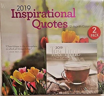 Amazon Com Inspirational Quotes Tea Time 2019 Wall Desk Calendar