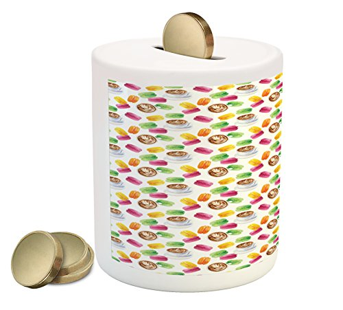 Price comparison product image Lunarable Kitchen Piggy Bank, French Style Breakfast with Mocha and Colorful Macaroons Biscuit Dessert Display, Printed Ceramic Coin Bank Money Box for Cash Saving, Multicolor