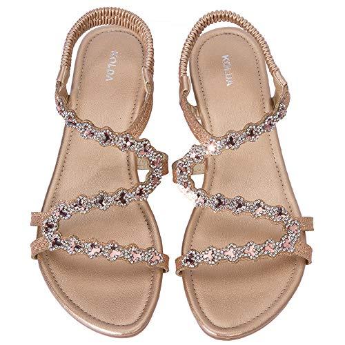 - KOLDA Low Heel Women Dress Sandals Wedge Sandal Jeweled Rhinestone Decro Comfortable Summer Shoes for Women Ladies Champagne