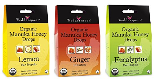 Wedderspoon Organic Gluten-Free Cough Drops 3 Flavor Sampler Bundle, 1 each: Lemon, Eucalyptus, Ginger (4 (Ginger Honey Cough)