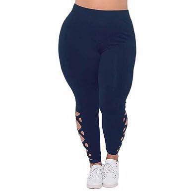 Pantalones Yoga Mujeres, Xinantime Leggings elásticos de Mujer Talla Grande Pantalones Deportivos sólidos con Cremallera Cruzada
