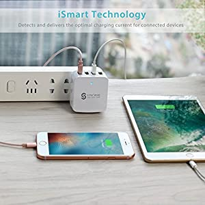 Travel Wall Charger USB Plug - Syncwire 34W/6.8A 4-Port Fast Charger with US UK EU Adapter for Apple iPhone X / 8 / 7 / 6s / Plus / 6 / 5 /SE iPad, Samsung Galaxy S Series, Note Series & more - White