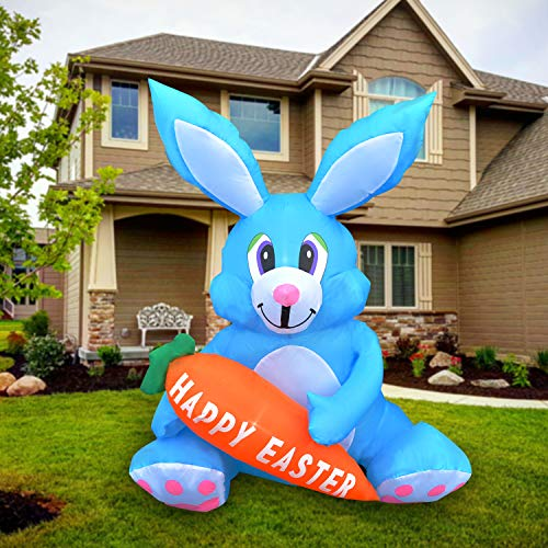 SEASONBLOW 4 FT LED Light Up Inflatable Easter Cute Bunny Rabbit with Carrot Decoration for Party Yard Lawn Garden Blow Up Decor Blue