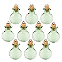 Tinksky 10pcs Mini Tiny Green Glass Cork Bottles Round Flat Vial Wishing Bottle DIY Pendants for DIY, Arts Crafts, Projects, Decoration, Party Favors