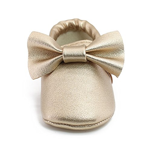 Image of OOSAKU Infant Tolddler Baby Soft Sole PU Leathe Bowknots Shoes (6-12 Months, Gold)