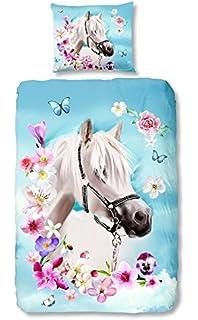 24d83807b8d379 Good morning 4924-P, 135cm bettwäsche mit Kissenbezug weißes Pferd, 100  Prozent Baumwolle