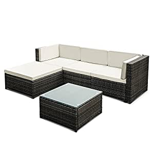 Ikayaa 5pcs rattan wicker patio sofa set for Sofa exterior amazon