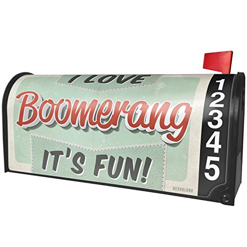Love Boomerang (NEONBLOND I Love Boomerang, Vintage Design Magnetic Mailbox Cover Custom Numbers)