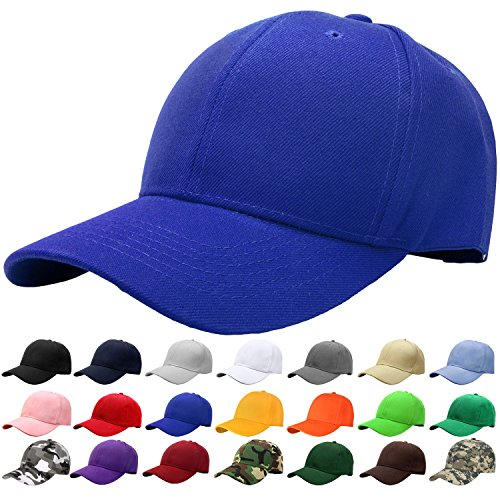 Blue Baseball Cap - Falari Baseball Cap Adjustable Size Solid Color G001-13-Royal