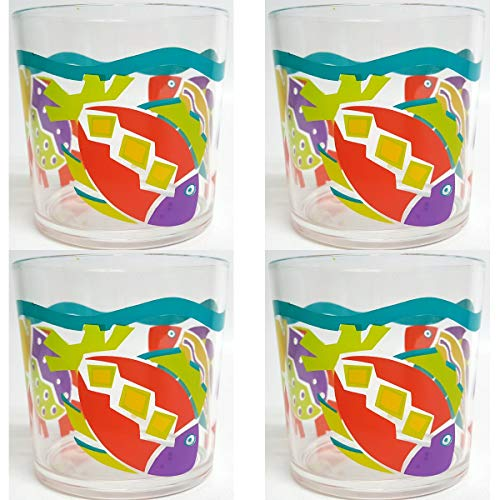 1991 Epstein Designs Tropical Fish Acrylic Glasses Double Old Fashioned 14 Oz. Set of 4