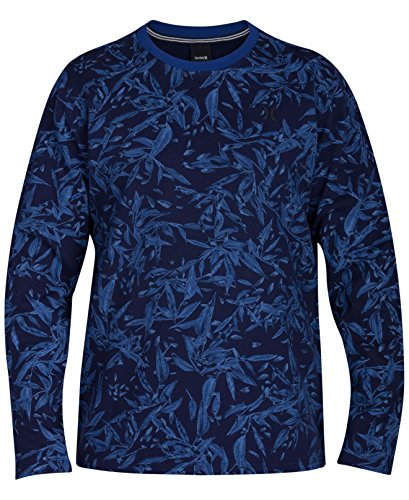 Hurley Navy Mens Floral Print Crewneck Sweater Blue XL