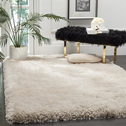 Safavieh Luxe Shag Collection SGX160B Handmade Bone Polyester Area Rug (8' x 10')