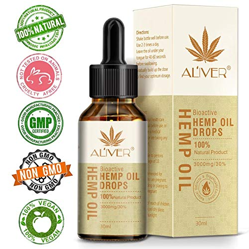 Hemp Oil Drops 1000mg :: Hemp Oil for Pain :: Stress Relief, Mood Support, Healthy Sleep Patterns, Skin Care (1000mg, 33mg per Serving x 30 Servings)