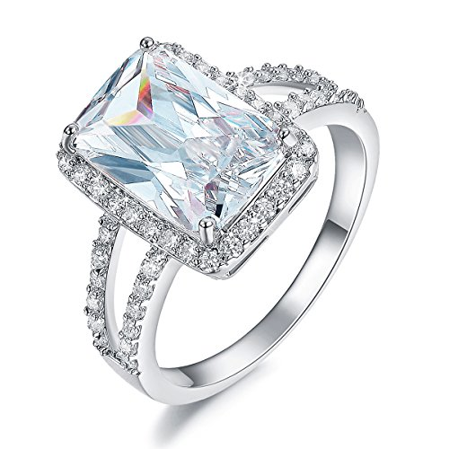 SHINCO Bella Lotus 4.5ct Radiant Cut CZ 18k White Gold Plated Vintage Wedding Band Engagement Rings Mothers Day Gifts,Size 9 1/2' Mens Ring