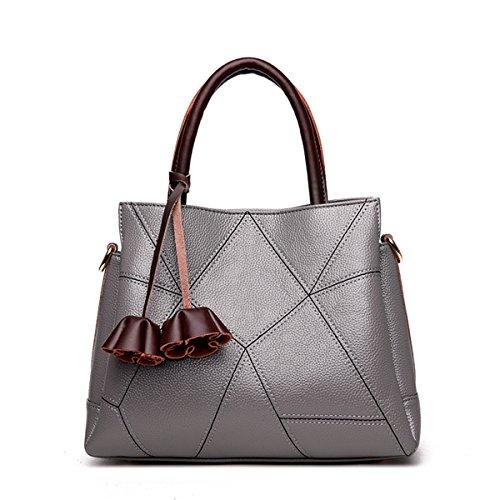 Retro casual femenino de mediana edad Bolso Bolso Bolso bolso de moda, gris