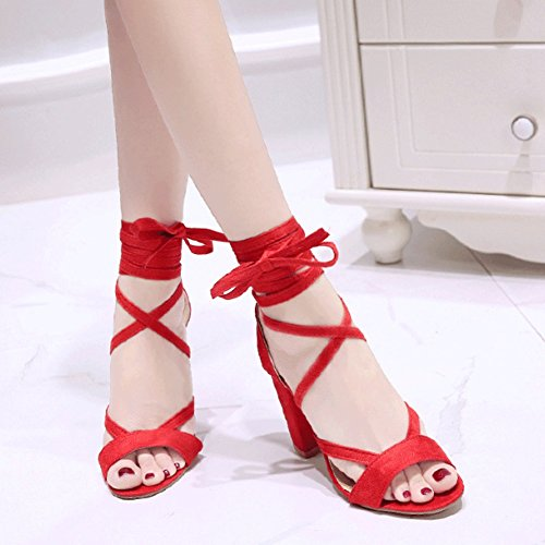 7dc6f6698 Buena DONGLU Sandalias planas huecas con tacón alto y sandalias rojas para  mujer (Color