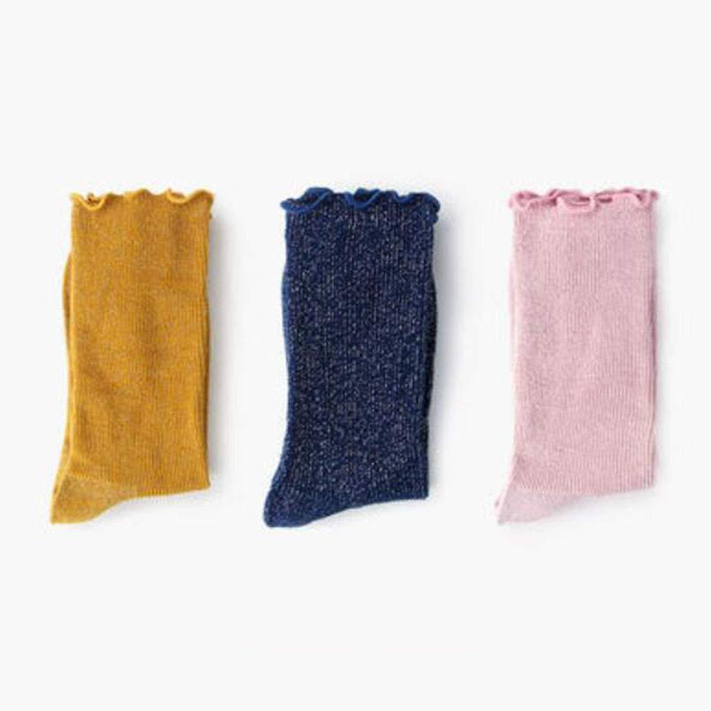 B Socks Pile Socks Fashion Silver Silk Cotton Socks Autumn and Winter Fungus 3 Pairs (color   B)