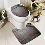 Bathroom Non-Slip Floor Mat Flag over Rust Metal Textured Armor Plaque Military Natial with High Absorbency