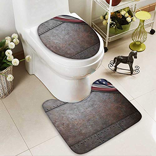 Bathroom Non-Slip Floor Mat Flag over Rust Metal Textured Armor Plaque Military Natial with High Absorbency by Muyindo