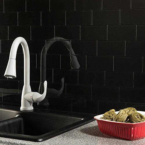 Aspect Peel and Stick Backsplash Ebony Glass Tile for Kitchen and Bathrooms (15 sq ft Kit) by Aspect