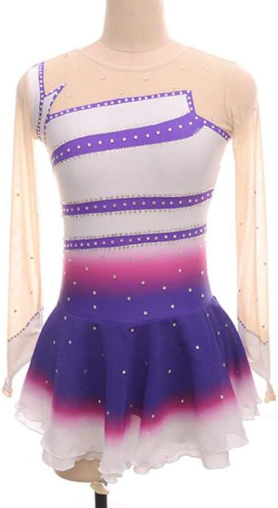 女性子供フィギュアスケートドレスアイススケートスカート長袖ダンスウェア競争白紫,M