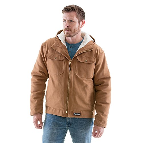- RefrigiWear Men's Sherpa Lined Insulated Arctic Duck Workwear Jacket with Hood (Brown, XL)