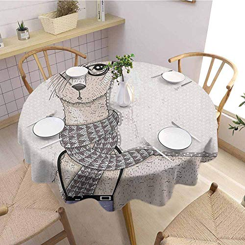 """DILITECK Animal Outdoor Round Tablecloth Llama with Camera Scarf and Glasses Hipster Animal on a Dotted Beige Background Round Table Diameter 63"""" Multicolor from DILITECK"""