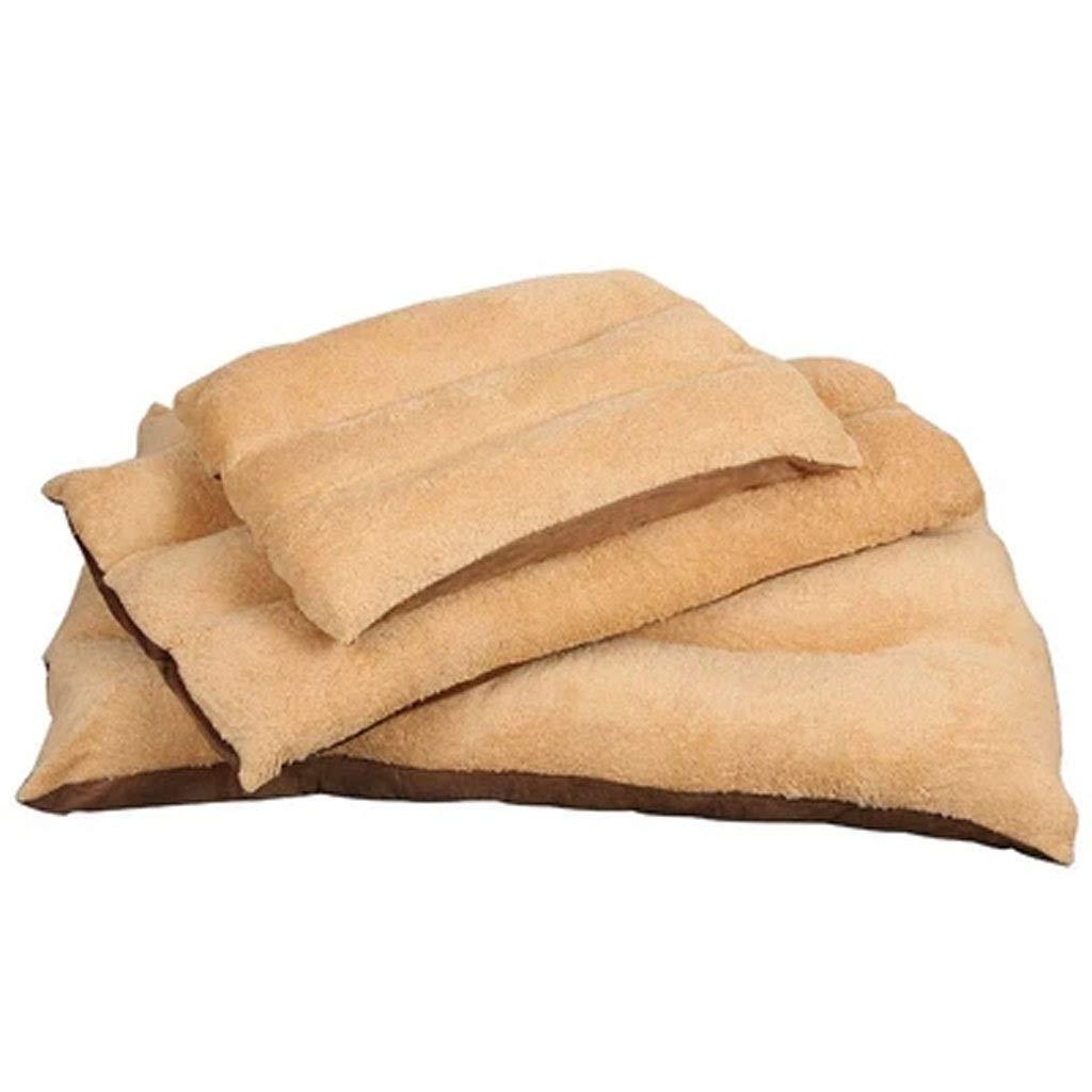 L MSNDD Pet nest big golden retriever dog sleeping bag lamb fur mat pet bed cat dog habitat beige (Size   L)