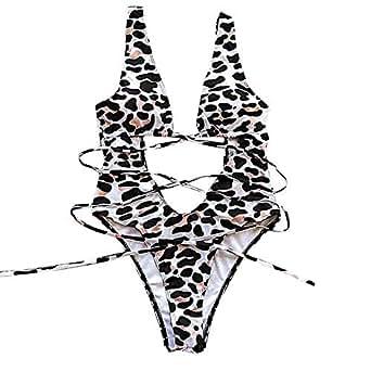 50489a23c3b Image Unavailable. Image not available for. Color: ASNUG Women's One Piece  Swimsuit Leopard Print ...