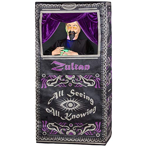 5.34 Foot Animated Zultan The Fortune Teller Halloween Prop with Light and Sound ()