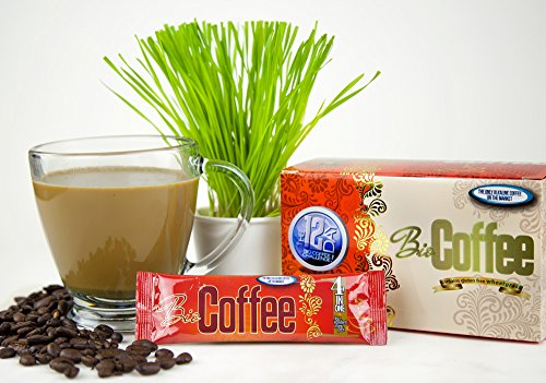 Bio Coffee- NEW! - First Organic Instant Non-dairy Alkaline Coffee (12 Sachet Box) by Bio Coffee