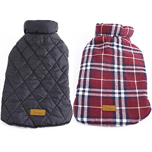 Kuoser Cozy Waterproof Windproof Reversible British style Plaid Dog Vest Winter Coat Warm Dog Apparel for Cold Weather Dog Jacket for Small Medium Large dogs with Furry Collar (XS - 3XL ),Red M (Large Dog Sweater)